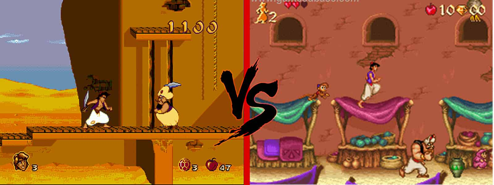 Aladdin MD Vs SNES